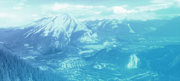 Banff and Cascade mountain, with blue overlay