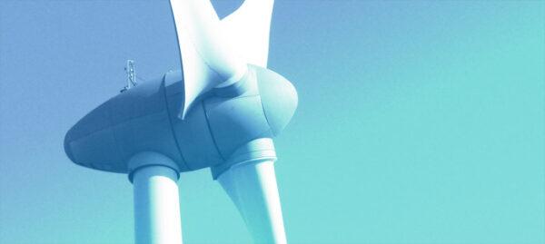 wind turbine, with blue overlay
