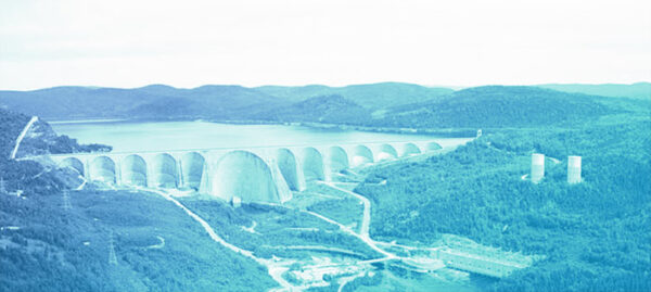 hydro plant and dam, with blue overlay