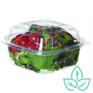 Good Earth Packaging compostable takeaway clear container filled with salad
