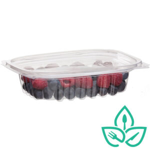 EWC Good Earth Packaging Compostable clear plastic tray with lid, berries inside