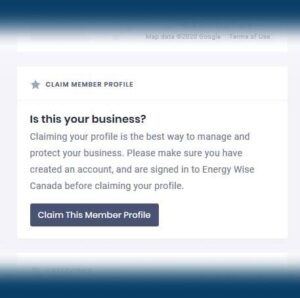 Claim your page on Energy Wise Canada sreenshot button